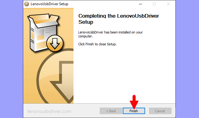 Lenovo USB Driver Setup Finish