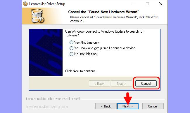 Lenovo USB Driver Setup Found